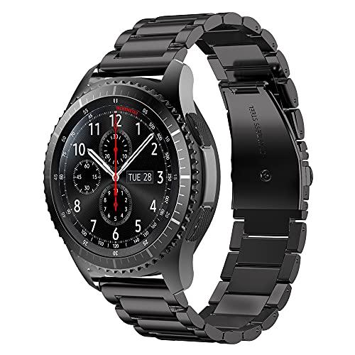 Cadorabo Pulsera de Acero Inoxidable 22mm Compatible con Samsung Galaxy Gear S3 / Gear 2 en Negro - Pulsera de Repuesto para Huawei Watch GT para Ticwatch Pro para Pepple Time para Amazfit Pace UVM