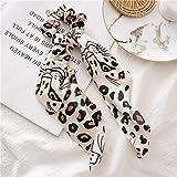 Leoparden Scrunchy con lazo de doble capa, un atractivo absoluto, accesorio de estilo, elegante para el pelo, para mujeres y niñas, coleteros para cualquier ocasión