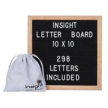 Retro Vintage 10 x 10 Oak Framed Felt Letter Board - 298 Characters (3/4  tall) w/Suede Letter Pouch