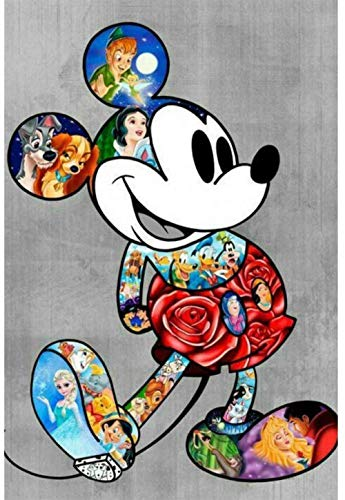 qfafz 5D DIY Diamante Pintura Color Dibujos Animados Mickey Mouse Bordado Mosaico Niños Regalo 40X50Cm