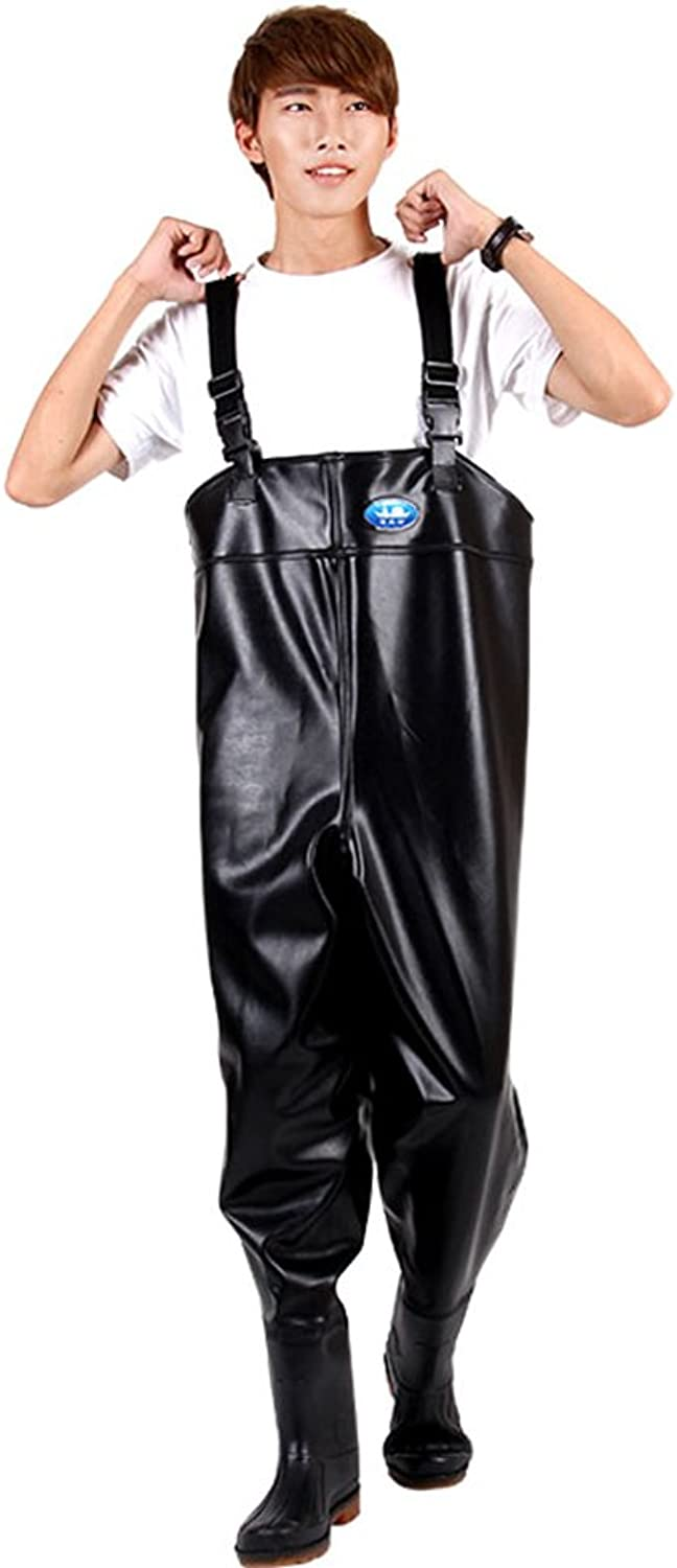 Ishowstore Waterproof PVC Thick Fishing Chest Waders with Cleated Sole for Winter