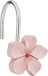 Amazer Shower Curtain Hooks Rings, Metal Decorative Resin Hooks Shower Curtain Rings for Bathroom Shower Rods Curtain and Liner, White Pink Sakura, 12 PCS