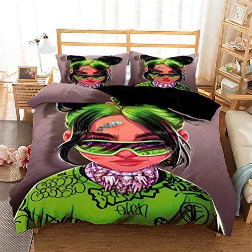 ADGAI Billie Eilish Bettwäsche Bettbezug Set, Mikrofaser Soft Hypoallergenic Bettbezug Single Double King Bettwäsche Set mit 2 Kissenbezug 50 x 75 cm,Be3,135x210cm