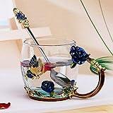 Taza de cristal esmaltada hecha a mano, taza de cristal, taza de té de flor de limón, taza de té de vidrio de alta calidad, regalo para pareja para amantes de la boda (color: rosa azul 1cup1spoon)