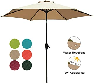 COBANA 7.5 ft Patio Umbrella Outdoor Table Market Umbrella with Push Button Tilt and Crank, 6 Ribs, Tan