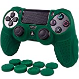 PS4 Controller Grip Skin Anti-Slip Silicone Case Cover for Sony Playstation 4 PS4/Slim/Pro Controller with 8 x FPS Pro Thumb Grips (Green)