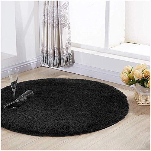 YJ.GWL Ultra Soft Round Black Area Rugs for Bedroom Anti-Slip Fluffy Nursery Carpets Mat Cute Kids Room Rugs Home Decor 4 Feet