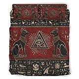 DOGCATPIG Coverlet Egipcio Ojo de Horus clásico geométrico diamante cosido patrón reversible elegante colcha para amigos...