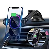 WALOTAR Wireless Car Charger, Triangle Linkage Auto-Clamping 10W Qi Fast Car Phone Mount Dashboard Windshield Air Vent Holder Compatible with iPhone 11 Pro Max Xs XR X 8,Samsung S10 S9 S8 Note 10 etc