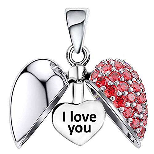 I Love You Heart Charm Bead fits Women's Pandora Charms Bracelet - Red Crystal S925 Sterling Silver - Christmas Gift
