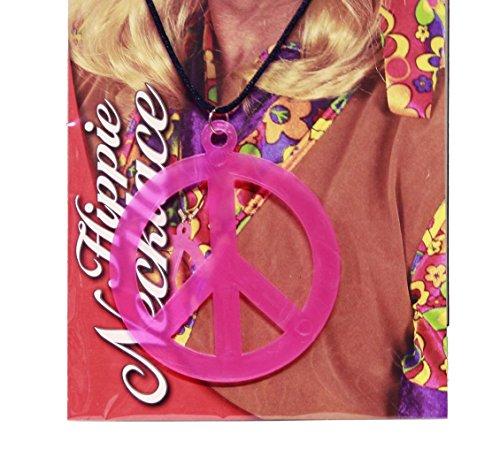 HAAC Halskette Kette Peacezeichen Peace Zeichen Anhänger 9 cm Farbe neon pink orange oder grün