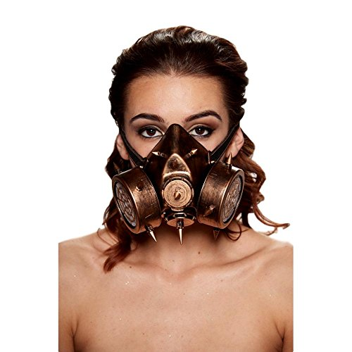 Steampunk Gas Mask with Extra Large Spikes (Gold)
