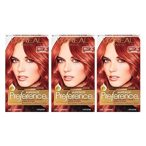 L'Oréal Paris Superior Preference Fade-Defying + Shine Permanent Hair Color, RR-07 Intense Red Copper, 3 COUNT Hair Dye