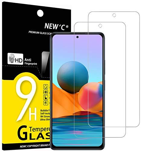 NEW'C Lot de 2, Verre Trempé Compatible avec Xiaomi Redmi Note 10 Pro, Film Protection écran sans Bulles d'air Ultra Résistant (0,33mm HD Ultra Transparent) Dureté 9H Glass