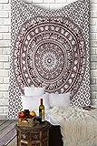 Tapiz Mandala Colgar en la Pared - granate Tapices Decorativo Cubierta Decorativa Casera Etnica India Tapestry -granate - 213 x 137 cm