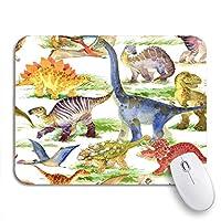 NINEHASA 可愛いマウスパッド カラフルな漫画かわいい恐竜水彩ジャングルシルエット動物考古学ノンスリップゴムバッキングマウスパッドノートブックコンピューターマウスマット