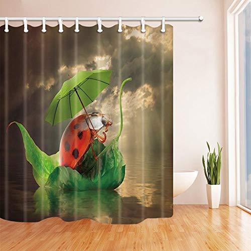 SHUHUI coración Creativa para Insectos Lady Bird con Paraguas en Hoja Barco en río Ducha Cortinas Tela Baño 180X180 CM Ver Rojo