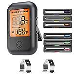 VIBIRIT Thermomètre Smart Grill,Thermomètre à viande numérique Thermomètre de cuisine Bluetooth avec 6 sondes,Thermomètre rôti pour cuisine, Grill, Nourriture, Lait, Steak, Poisson, BBQ,