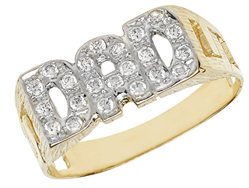 9 Carat Yellow Gold Dad Ring With Cubic Zirconia - British Made - Hallmarked (R)