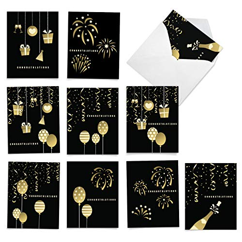 The Best Card Company - Elegant Event Congratulations - 10 Congratulations Cards with Envelopes (4 x 5.12 Inch) - Assorted Boxed Note Cards with Photos of Balloons, Presents, Fireworks AM6723CGG-B1x10