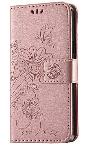 kazineer Hülle für Samsung Galaxy S9, Handyhülle Leder Tasche Flip Hülle [Kartenfach] [Faltbarer Ständer] [Abnehmbarer Handschlaufe] Schutzhülle kompatibel mit Samsung Galaxy S9 (Pink-Gold)