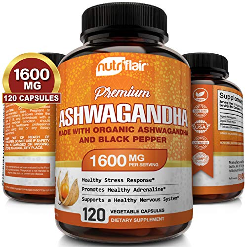 NutriFlair Ashwagandha Capsules 1600mg, 120 Vegan Pills (Made with Organic Ashwagandha and Black Pepper) - Root Powder Supplement - Stress & Anxiety Relief, Mood, Energy, Adrenal and Thyroid Support