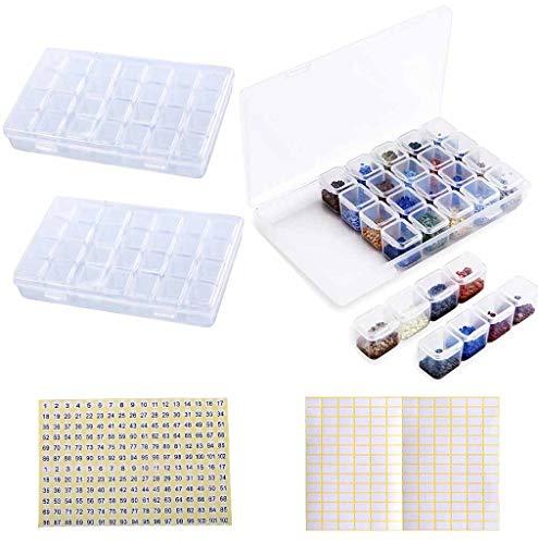 28 Fächer Diamond Painting Aufbewahrungsbox 2 PCS, Eiito Kunststoff Dosen Diamant Stickerei Box Kunststoff Dosen 5d Diamant Painting Zubehör