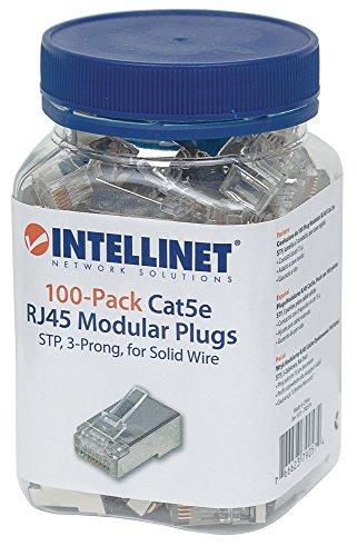 Intellinet 100er-Pack Cat5e RJ45-Modularstecker (STP, 3-Punkt-Aderkontaktierung, für Massivdraht) 790574 grau