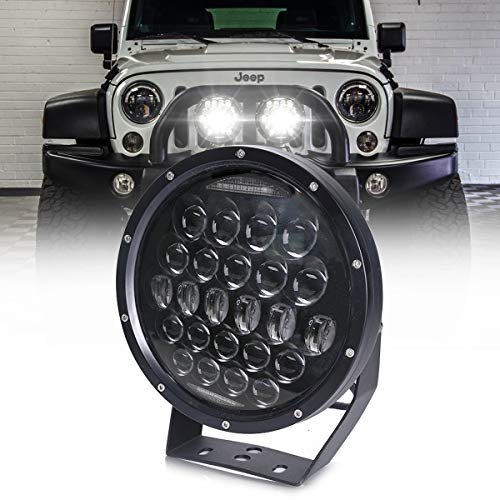 AUDEXEN 300W 9 Inch Round LED Work Light, Pod Lights Built-in EMC, High/Low Beam Driving Lights with Adjustable Mounting Bracket Compatible with Jeep Wrangler Off Road 4x4 Truck ATV SUV - 1 PCS