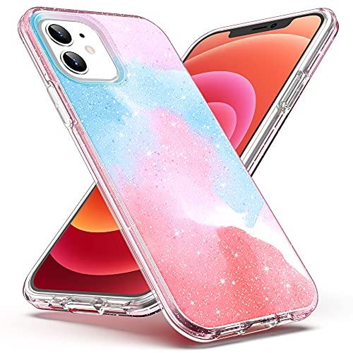 ULAK Custodia Compatibile con iPhone 12/12 Pro, Cover Trasparente Glitter+Durable Anti-Scratch Protettiva in TPU per Paraurti Antiurto per Telefono Apple iPhone 12 / iPhone 12 Pro 6.1 Pollici-Rosa