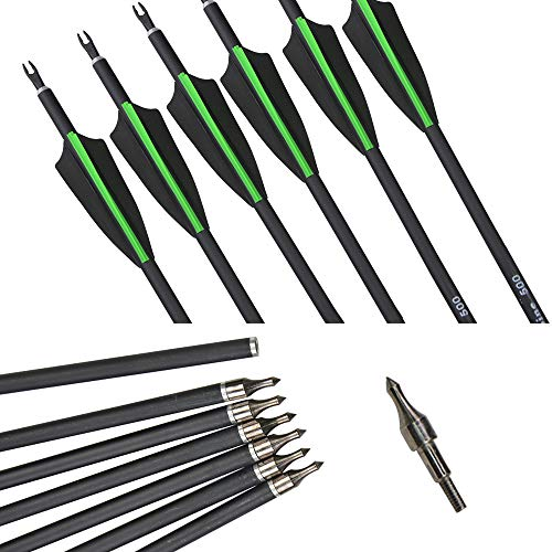 MILAEM 12Pcs 30 Zoll Carbon Pfeile für bogenschießen Bogensport 500 Wirbelsäulenjagd Zielpfeile für Recurvebogen Compoundbogen Outdoor Schießen (Green)