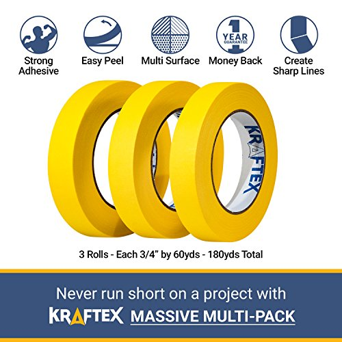 Painters Tape 180YRD x ¾ Inch for Pro Painting [CLEAN LINES EVERYTIME] 3 x 60YRD Rolls. Masking for Paint, Wallpaper, Wood, Glass, Metal. Protect Walls, Surface, Trim. Yellow Paper Tape, Prevent Stain Photo #2