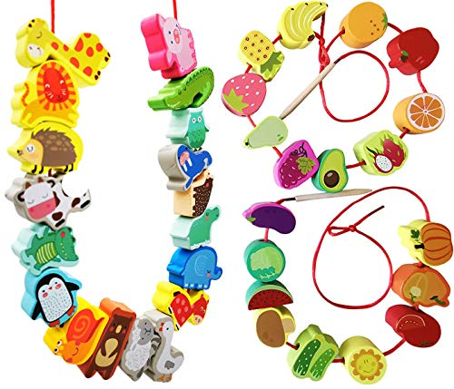 BMTOYS Wooden Animals Fruits Vegetables String Threading Beads Montessori Toddler Preschool Activities Lacing Toys for Toddlers 2 3 4 5 Year Old Boys Girls
