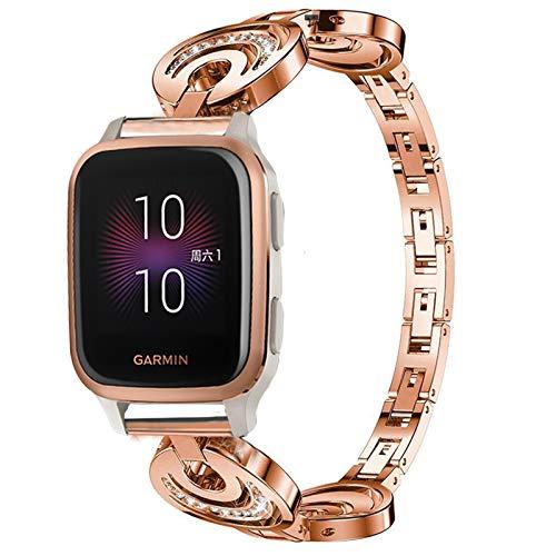 Giaogor Armband Kompatibel für Garmin Venu sq, Damen Metall Band Premium Edelstahl Bracelet Gurt für Garmin Venu SQ Smartwatch (Roségold)