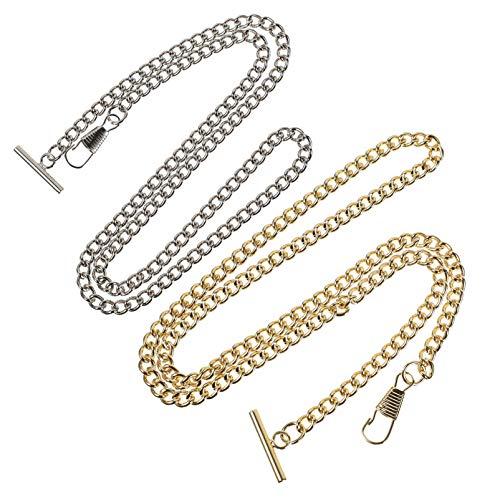 Hemobllo 2 Stück Taschenuhr Ketten Metall Vintage T-Bar Schnalle Jeans Gürtel Ketten Geldbörsen Ketten für Männer Frauen Kleidung Dekoration (Golden Silber)