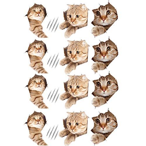 Encantador Pegatina de Gato 3D del Gato Extraíble PVC 3D Pegatinas de Pared Gatitos Gatito del Gato 3D Pegatinas para DIY, Dormitorio, Sala, Ventana, Tapa del Inodoro 3 Estilos 12 Piezas