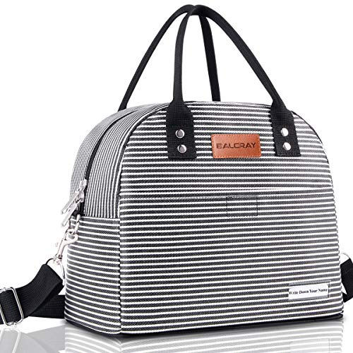 BALORAY Reusable Lunch Bag for Women Men Multi-functional Lunch Tote Bags with Shoulder Strap,Thermal Cooler Bag Lunch Container for Women Men Work Picnic (Black White Strip)