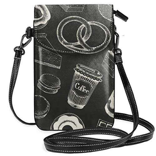 LEPO\'S Handy-Umhängetasche Tasche Handtasche Kaffeepause-Hand gezeichnetes nahtloses Muster-Lebensmittel Retro Crossbody Smartphone Geldbörse