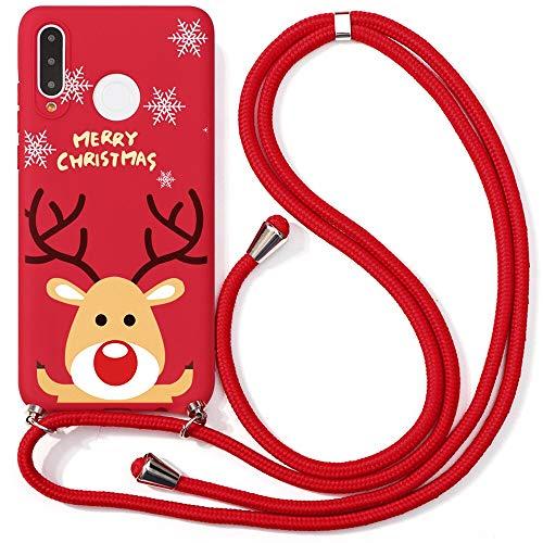 Yoedge Funda con Cuerda para Huawei P30 Lite, Navidad Cárcasa Silicona Colgante Ajustable Collar de Cuello Cadena...