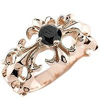 メンズ クロス リング ブラックダイヤモンド 0.5ct ピンクゴールドk18 幅広 指輪 ダイヤ ゴールドリング ピンキーリング 18金 17