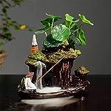 Cascata di incenso Qohg Bruciatore Invertire Cascata del fumo Bruciatore di incenso Bruciatore di incenso con 20 coni per rilassamento, meditazione, yoga