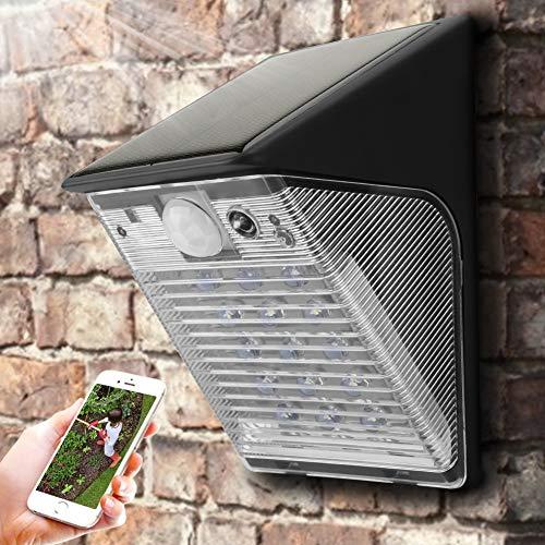 JULYKAI Cámara WiFi con energía Solar, 1080P WiFi Lámpara LED para Patio Exterior inalámbrica Cámara Solar IP65 a Prueba de Agua Cámara de Seguridad para Exteriores Cámara Recargable con energía