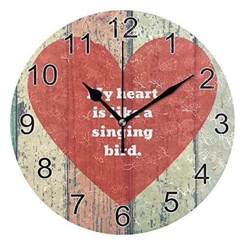 Mi corazón es lReloj de Pared con pájaro Cantor Ike, Relojes de Escritorio silenciosos sin tictac, decoración de Cocina para el hogar para baño, Oficina, Reloj Escolar, Arte