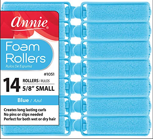 Annie Salon Style Small Foam Hair Rollers - 5/8' Blue - 14 Piece Set - Soft Heat-less Hair Curling Tools