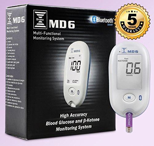 Bruno MD6 Blood Ketone & Glucose Monitoring System | Track Your Ketones & Ketogenic Diet Progress | Ketosis Test Kit with Lancing Device, 10 Keto Strips + 50 Lancets 6