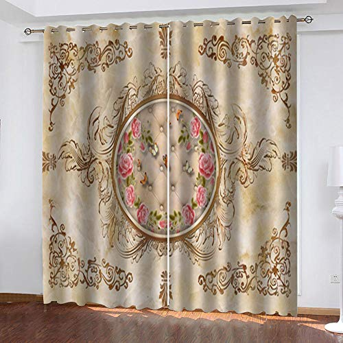 """Grommet Thermal Insulated Room Darkening Curtains Blackout Curtains for Bedroom Insulated Heavy Weight Textured Rich 2 Panels 140"""" W x 160"""" Hcm Vintage Flower"""