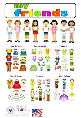 Dress Up Felt Doll Set 8 Dolls + 78 Pieces Flannel Board Boys & Girls Story Playboard