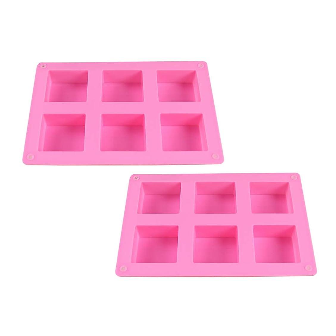 橋脚人種咽頭HEALIFTY DIYのケーキのベーキング型のための6つのキャビティシリコーンの石鹸型との石鹸作りのための2PCS石鹸型