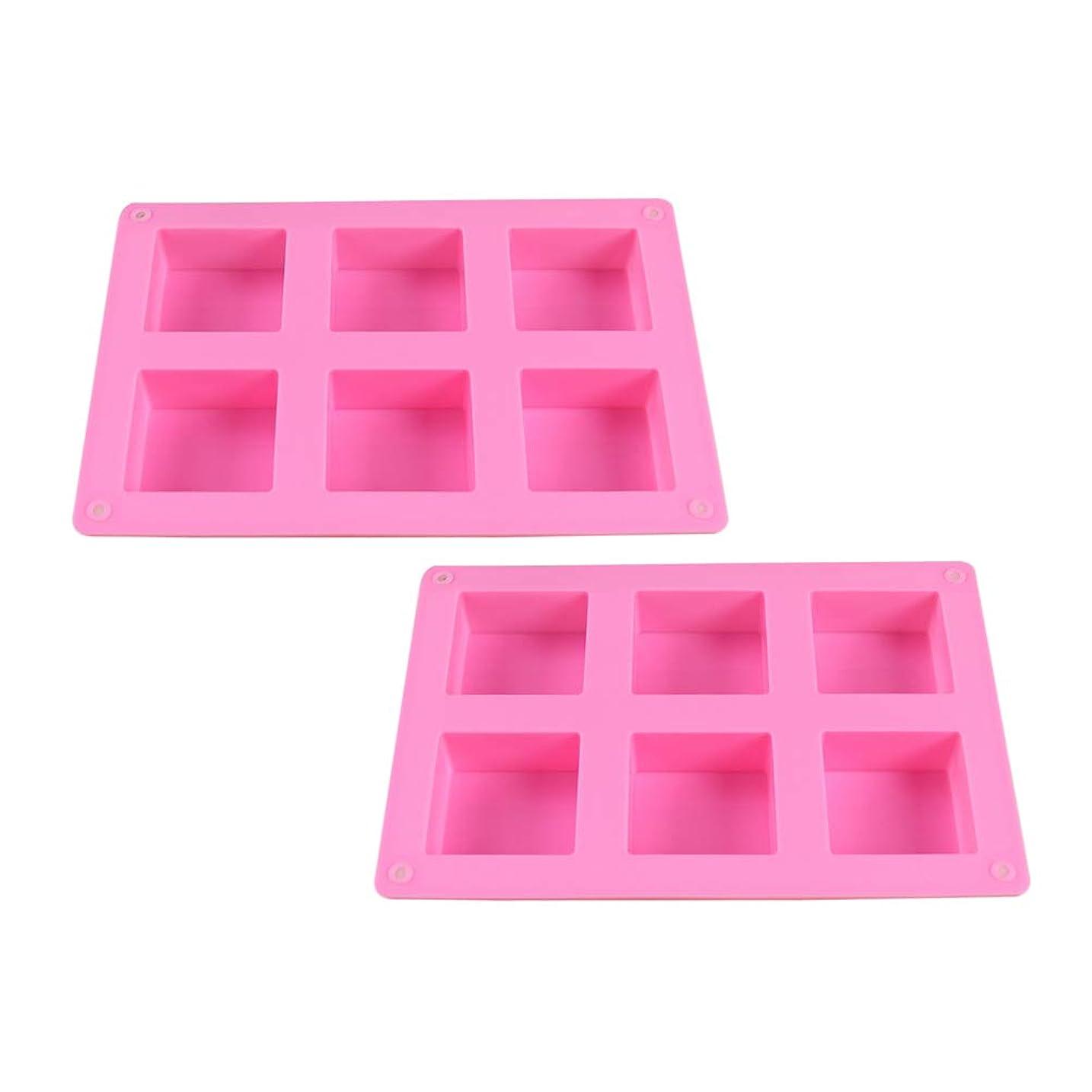 犯人ベストマイナスHEALIFTY DIYのケーキのベーキング型のための6つのキャビティシリコーンの石鹸型との石鹸作りのための2PCS石鹸型