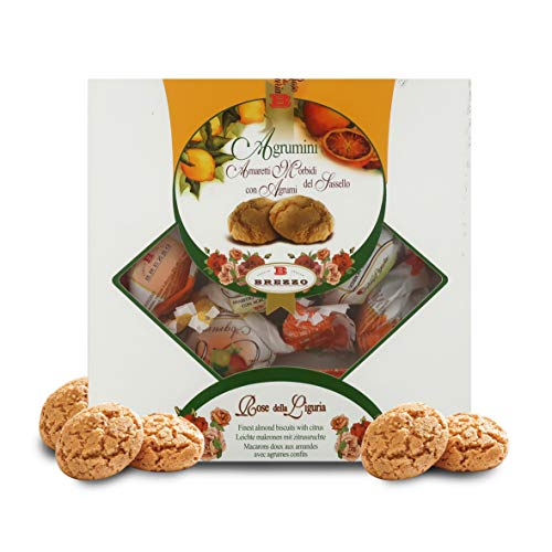Brezzo Amaretti Agrumini - Galletas de Almendra Aromatizadas con Cítricos - Caja Regalo 200 Gramos